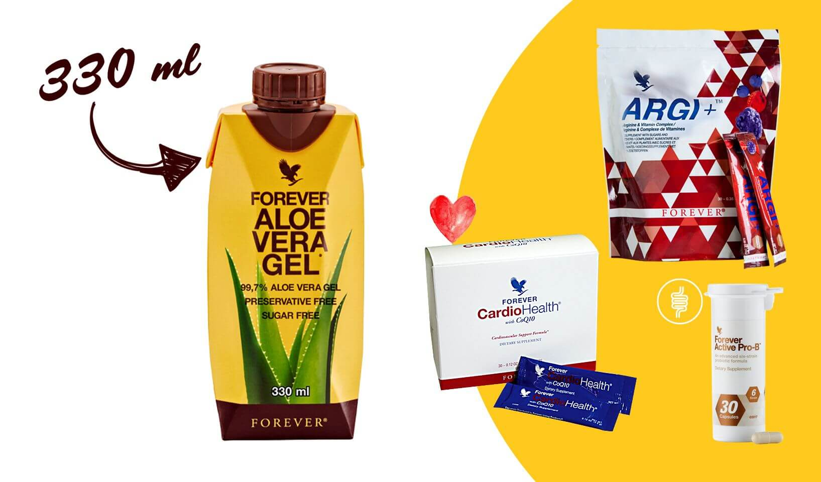 Forever CardioHealth, Argi +, Forever Active ProB, Aloe Vera Gel